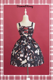 Black Diamond Honey Chiffon Doll Hospital Printing Sweet Lolita JSK Dress