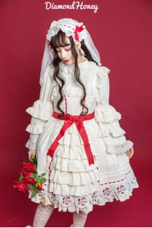 White Diamond Honey Hollow Princess Style Rose Sweet Lolita Dress