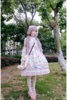 Pink Diamond Honey Chiffon Fairy Tale Style Cute Thumb Girl Forest Animals Sweet Lolita Dress