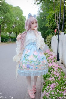 Blue Diamond Honey Chiffon Fairy Tale Style Cute Thumb Girl Forest Animals Sweet Lolita Dress