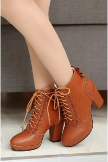 Sweet Tie PU High-heel Snow Boots 4 Colors