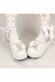 Sweet Bow Knot PU Pearl Chain Lolita Shoes 2 Colors