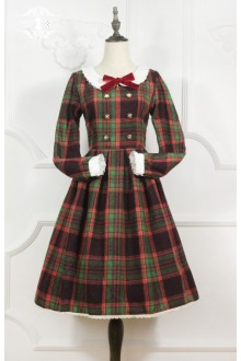 Miss Point Magic School Vintage Plaid Printing Long Sleeves Sweet Lolita Dress