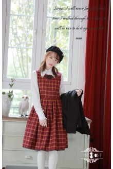 Miss Point Magic School Vintage Plaid Printing Long Sleeves Sweet Lolita JSK