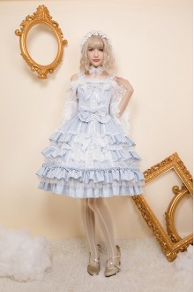 Light Blue Holy Cross Angel Golden Yarn Dreamy Gorgeous Sweet Lolita JSK Dress