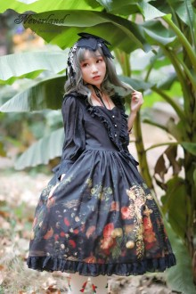 Black Neverland Flowers Girls Sweet Lolita OP Dress