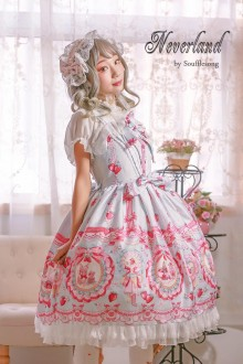 Neverland Strawberry Rabbit Printing Sweet Lolita JSK Dress 4 Colors