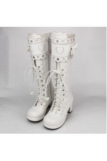 White Sweet Bow Knot Princess High Lolita Boots