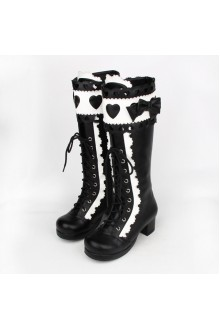 Black and White Sweet Bow Knot Princess High Lolita Boots