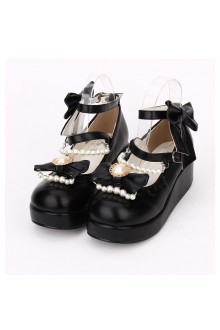 Cute Bow Knot Pearl Chain Princess Lolita Shoes