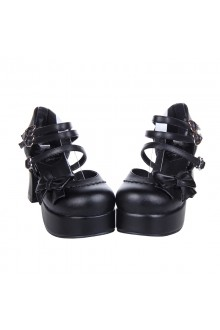 Black Bow Knot High Heels Princess Lolita Shoes