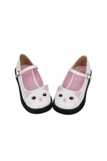 White Cute Cat Bow Knot Princess Lolita Shoes