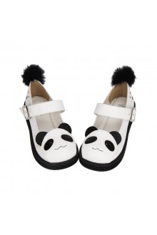 White Cute Panda Princess Lolita Shoes