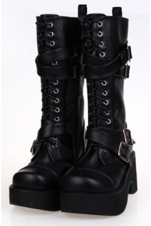 Black Punk PU Cross Straps Lolita Boots