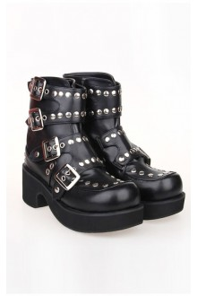 Black Punk PU Lolita Shoes