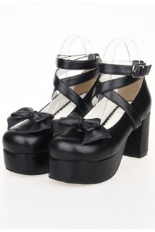 Black High-heeled PU Bow Knot Princess Lolita Shoes