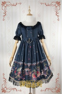 Black Strawberry Witch Fairy Tale World Amusement Park Printing High Waist Sweet Lolita OP Dress