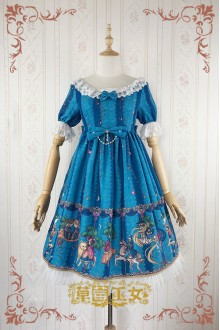 Blue Strawberry Witch Fairy Tale World Amusement Park Printing High Waist Sweet Lolita OP Dress