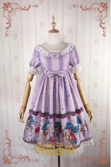 Light Purple Strawberry Witch Fairy Tale World Amusement Park Printing High Waist Sweet Lolita OP Dress