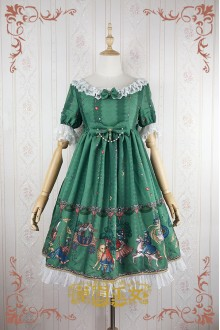 Green Strawberry Witch Fairy Tale World Amusement Park Printing High Waist Sweet Lolita OP Dress