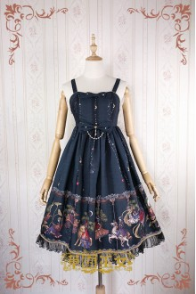 Black Strawberry Witch Fairy Tale World Amusement Park Printing High Waist Sweet Lolita JSK Dress