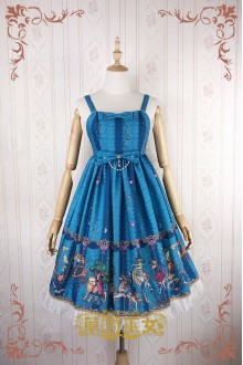 Blue Strawberry Witch Fairy Tale World Amusement Park Printing High Waist Sweet Lolita JSK Dress
