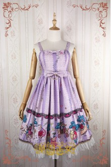 Light Purple Strawberry Witch Fairy Tale World Amusement Park Printing High Waist Sweet Lolita JSK Dress