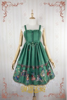 Green Strawberry Witch Fairy Tale World Amusement Park Printing High Waist Sweet Lolita JSK Dress