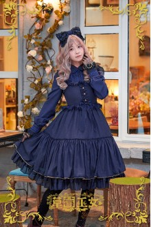 Dark Blue Strawberry Witch Rainbow Sugar Dreams Fly Sleeves Sweet Lolita JSK Dress