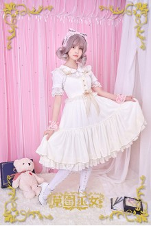 Ivory Strawberry Witch Rainbow Sugar Dreams Fly Sleeves Sweet Lolita JSK Dress