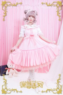 Pink Strawberry Witch Rainbow Sugar Dreams Fly Sleeves Sweet Lolita JSK Dress