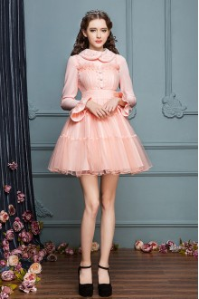 Sweet Pink Doll Collar Long Sleeves Princess Dress