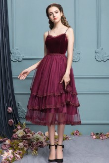 Sweet Dark Red Lace Slim Mesh High Waist Sleeveless Suspender Princess Dress