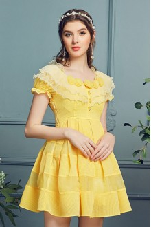 Sweet Yellow Round Collar High Waist Short Sleeves Princess Dress (Limited)