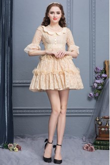 Sweet Apricot Doll Collar Hollow Lace Half Sleeves High Waist Princess Dress