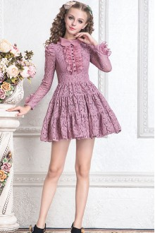 Sweet Purple Doll Collar Lace Hollow High Waist Long Sleeves Princess Dress
