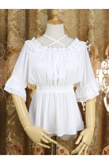 Sweet Chiffon High Waist Short Sleeves Lolita Blouse 3 Color
