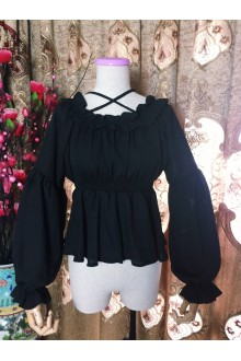 Sweet Chiffon High Waist Long Sleeves Lolita Blouse 6 Color