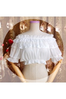 Sweet Chiffon Ruffles Round Collar Short Sleeves Lolita Blouse 3 Color