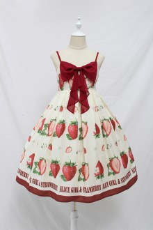 Alice Girl Big Strawberry Bow Print Sweet Lolita JSK Dress 5 Colors