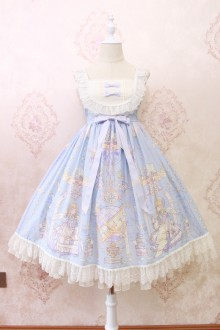 Alice Girl Angel's Book Print Lace Bow Sweet Lolita JSK Dress 3 Colors