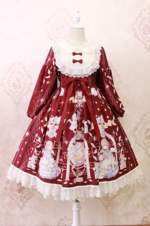 Alice Girl Angel's Book Print Lace Bow Long Sleeves Sweet Lolita Dress 3 Colors