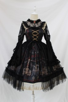 Alice Girl Chandelier Print Lace Ruffles Bow Lolita JSK Dress 4 Colors