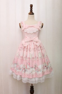 Alice Girl Pink Imperial Crown Bradde Chain Cat Bowknot Sweet Lolita JSK Dress