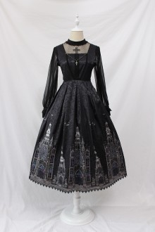 Alice Girl Elegant Dark Cross Church Gothic Lolita JSK Dress Long Version 2 Colors