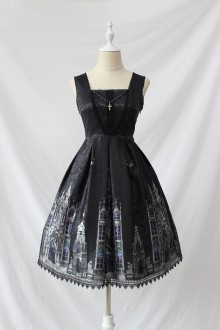 Alice Girl Elegant Dark Cross Church Gothic Lolita JSK Dress Short Version 2 Colors