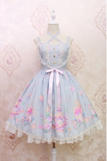Alice Girl Chiffon Star Perfume Bottle Lace Ruffles Bow Lolita JSK Dress 4 Colors