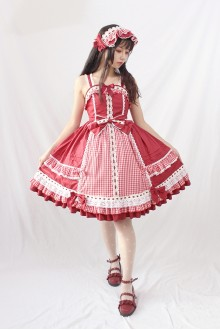 Alice Girl Margaret's Afternoon Tea Plaid Bow Sweet Lolita JSK Dress 5 Colors