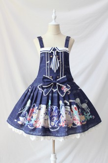 Alice Girl Seal Nautical World Print Bow Lolita Strap Dress 4 Colors