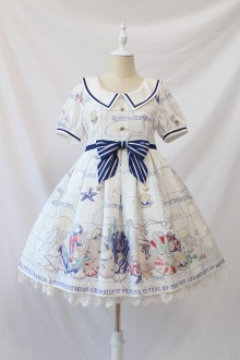 Alice Girl Seal Nautical World Print Bow Lolita OP Dress 4 Colors